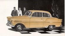 Nu är det 1957 och Olympia Rekord har fått en face-lift med stildrag som kom på 1956 års Opel Kapitän.