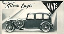 Alvis Silver Eagle 1935 i sin minst tilltalande form, en six-light saloon. Den fanns också som sports saloon och i olika öppna varianter. Motorn var en toppventilsexa på 2 362 cc med tre SU-förgasare. Växellådan var helsynkroniserad, avancerat 1935 Crested. Eagle var en limousine på längre hjulbas.