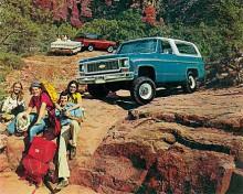 """""""Building a better way to see the U.S.A"""" löd broschyrrubriken 1973. Det här året kom den andra generationen Blazer."""