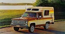 Om nu tältande blev för obekvämt när man gav sig ut i naturen så kunde man ju köpa en Blazer Chalet med en praktisk liten husbilsdel påmonterad.