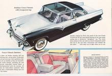 Den klassiska! En Crown Victoria med glastak ur 1955 års broschyr. Den kallades hard-top trots att den hade B-stolpe, fast den var ju i krom förstås.
