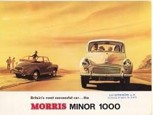 Som vi bäst minns den, Morris 1000 från sent 1950-tal. Först hade Minor en sidventilmotor med rötter i trettiotalet, sedan kom BMC A-motorn som växte från 800 via 1000 till 1100 kubik.