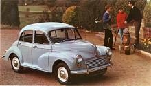 En bild ur en av de sista samlingsbroschyrerna från British Leyland där Morris Minor ännu var med.