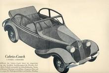 En Trumpf Junior målad i Bernd Reuters typiska manér, inte så realistiskt men mycket tilltalande. Vid sidan av cabrio-coach fanns en hel rad olika karosstyper, till och med en sportbil.