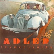 Ännu ett av Bernd Reuters tidstypiska broschyromslag utfört i akvarellteknik. Trumpf Junior var en välbyggd bil med bra väghållning och lagom snabb med 25 hästkrafter ur en liters slagvolym.