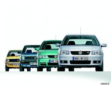 De fyra första generationerna Polo samlade på en och samma bild.