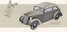 Typiskt för den första Olympia var hur strålkastarna kapslats in vid motorhuven. Det kopierades senare av Renault på Juvaquatre men först med detta stildrag var faktiskt Hupmobile 1934, ritad av ingen mindre än Raymond Loewy.