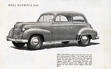 Olympia försågs 1950 med kantigare skärmar och en bred kromgrill och året därpå kom en utbyggd koffert med lucka. Växellådan var nu trestegad men fortfarande utan synkronisering på ettan. Broschyrbilden är ritad av GAS, Gunnar A. Sjögren, absolut en av världens skickligaste biltecknare.