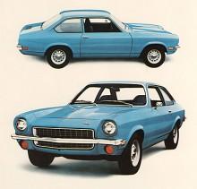 Visst ser man likheter med Camaro men i profilen av Vega Notchback också influenser från Fiat 124 Sportcoupé.