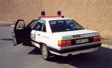 Audin är inte bara ovanlig som polisbil, att den saknar de blågula stripesen gör den också extremt ovanlig.