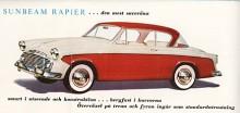Sunbeam Rapier presenterades på våren 1955 som en sportig hard-top. För formgivningen hade Rootes konsulterat Raymond Loewy, mannen bakom Studebakers sensationella 53:or. Sex mådnader senare kom Hillman Minx med en fyradörrrars version av den nya karossen, se namnsdagsbilar den 27 april.