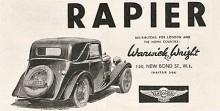 En för Lagonda mycket liten bil var Rapier men dess twin-cam motor höll märkets höga klass fast den var bara på 1104 cc. Den visades i juli 1934 och såldes som chassi för påbyggnad av olika fristående karossmakare. På bilden en drophead coupe.