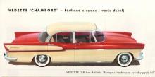 Det var oundvikligt, till 58-års modell infördes fenor och en, om än minimal, panoramaruta. Precis som för övrig bilflora som fanns att välja mellan under sent femtiotal. På bilden en Vedette Chambord 1958.