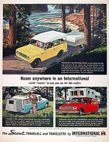 """""""Roam anywhere in an International"""". Den här annonsen från 1961 visar tydligt hur Scout och International Harvesters andra bilmodeller Travelall och Travellette skulle användas."""