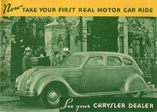 """Reklamslogan från 1934 som lyder; """"Uppsök din Chryslerförsäljare och var med om din första riktiga biltur""""."""