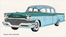 Förvandlingen fortsätter 1957 med bumper grille och nya bakljus. Pengarna börjar tryta och Champion får sitt sista år 1958 en bilig facelift med fenor och lamphus som pålagda glasfiberformer.