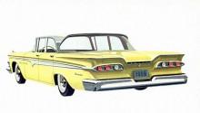 Edsel blev Fords stora flopp under 1950-talets sista år och höll på att knäcka koncernen ekonomiskt. Edsels program bestod av fyra modeller där Ranger var den billigaste och enklaste modellen byggd på ett Fordchassi. Här en från 1959.
