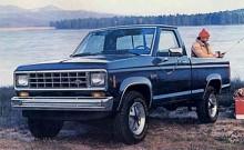 """Ranger togs upp igen 1983 till Fords lätta pickup-modell som delade de flesta komponenterna  med Mazdas B Pickup. Ranger har kunnat erhållas med såväl fyrcylindrig bensin- eller dieselmotor som bensin V-sexa. Denna """"fiskebil"""" är från 1985."""