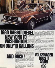 """Med dieselmotor blev Golf en riktig snåljåp, tack vare låg vikt låg förbrukningen i nivå dagens bästa """"miljöbilar"""". I USA såldes Golf under namnet Rabbit och även där marknadsfördes dieselmodellen. Tänk om amerikanarna tagit till sig konceptet till fullo, så mycket mer olja det hade funnits kvar!"""