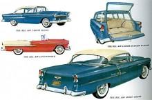 1955-års Bel Air palett. Från stationsvagn till cabriolet. För första gången i en Chevrolet fanns nu en V8. På 265 kubiktum och 162 hk SAE.