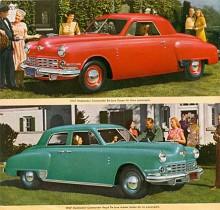 Vi börjar med Studebaker Commander 1947 även om Studebaker använt Commander som beteckning för en av sina bilmodeller sedan 1920-talet utom 1936 och 1959-63. Den röda är en De Luxe medan den gröna är en Regal De Luxe.