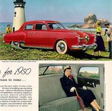 1950 års version hade samma grundkaross men med propellergrill. Inredningen bjöd på ett ombonat inre. Se så gott tanten sitter i baksätet.