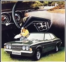 """Tredje serien av Cortina debuterade som 1971 års modell med reklamfrasen """"Mer bil mellan hjulen"""" . Det var en gemensam utveckling med Ford i Tyskland men Cortina hade coke-bottleprofil och såg därför vildare ut än den linjalritade Taunus. I båda monterades Pintomotorn men Cortina fanns också med Kentmotorer.  Från 1976 till dess den ersattes av Sierra 1982 var Cortina reducerad till en Taunus med Cortinaemblem för den engelska marknaden."""