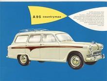 En elegant vagn är A95 Countryman 1956-59 med sexcylindrig motor och baklucka horisontellt delad som på en amerikansk station wagon.