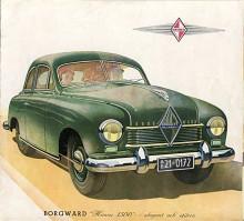 Bilden visar den första helt nykonstruerade tyska bilen efter andra världskriget. Märket var Borgward och modellnamnet Hansa 1500. Den introducerades i mars 1949 på Génèvesalongen och väckte stort uppseende.