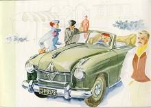 Ännu sällsyntare är efterträdaren Hansa 1800 som 1952-1954 tillverkades i bara 8531 exemplar. Den fanns även med fyra dörrar och som cabriolet, här på en reklambild i typiskt tyskt 50-talsmanér.