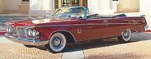 Fristående strålkastare av klassisk modell utmärker 1961 års upplaga av Chryslers flaggskepp Imperial, här som LeBaron Convertible.