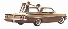 Sex år senare, 1961, hade karossformerna utvecklats till detta trevligt utplattade utförande efter sex ganska stora förändringar av utseendet. 1955-57 dock med samma grundkaross, 1958 endast detta år och 1959-60 än en gång med samma grundkoncept.