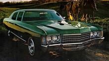 """Grön och grann står denna Bel Air 1971 ute i naturen. 1975 plockas Bel Air bort som modellnamn och sista karossen som betecknas som """"fullsize"""" läggs ner 1976. I Kanada fortsatte man använda Bel Air som beteckning på sina Chevrolet."""