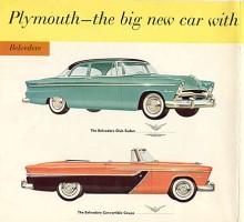 Belvedere 1955 Club Sedan och Convertible Coupe. Bulliga bilar som beskrevs som stora av Plymouth själva.