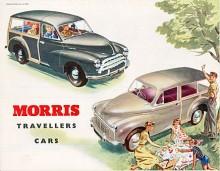 Oxford MO fanns från hösten 1952 också som kombi med bärande karosstruktur i askträ, här med ny grill. På bilden syns också den första Minor Traveller som kom 1953.