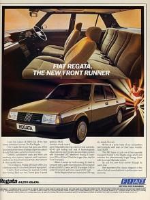 I denna engelska annons drog man nytta av att Fiat Uno blivit Årets Bil och antydde att även Regata hade de kvaliteterna.