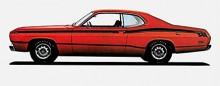 Plymouth Duster i Twisterutförande innebar dekaler på sidorna, 340 kubiktumsmotor och växelväljaren på golvet. Värstingmodellen.