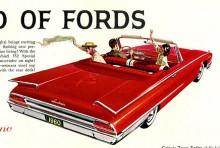 Ford Galaxie - Fords premiummodell under 1960-70 talet - blev nästa värd för Sunlinertemat. Redan 1959 skedde uppförstorandet men bilen på bilden är från 1960 och mer utplattad än föregångaren. För första gången på länge en Ford utan runda baklysen!