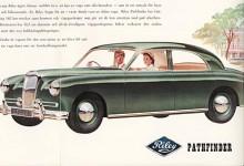 Riley Pathfinder var en stor rambyggd bil, 465 cm lång och med en tomvikt på nära 1,5 ton. Torsionsfjädring fram och, en nyhet, skruvfjädrar bak. Den stora fyran på 2,5 liter utvecklade 102 hkr,