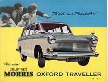 Morris Oxford med så kallad Farinakaross tillverkades också som kombi och kallades givetvis för Traveller. På bilden en series VI som till skillnad från saloonen fick behålla fenorna vid den facelift som gjordes 1961. En rymlig och slitstark bil.