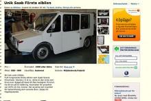 Saab elbil, ett bygge som enligt annonsen kostade Saab-Scania 14 miljoner. Nu säljs den till högstbjudande. Klurighet: Gissa!