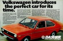 Här skulle amerikanarna lära sig att en Volkswagen var framhjulsdriven, hade vattenkylning och var kantig. Mycket nytt att ta in - men succén kom smygande samtidigt med VW Rabbit.