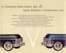 """1948. Den legendariska årsmodellen, då fenorna föddes. Än så länge handlar det om smäckra och mjukt formade utbuktningar, men snart hade hela den amerikanska bilindustrin slagit in på det nya spåret. Fleetwood fanns som Serie 60 och Serie 75 och precis som tidigare årsmodeller betecknade tilläggsnamnet 75 ett förlängt chassi vilket var tydligast avläsbart i fram- och bakdörrarnas längd.  I broschyren talar man om Fleetwood-designade interiörer i termer av att de skulle vara helt handgjorda: """"Every resource of the world´s outstanding custom coach-maker has been called into play to create this unique blend ultramodern smartness and sumptuous comfort.""""."""