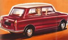 """En dag då man brukar önska varandra """"Gott slut!"""" bjuder vi på en bil som verkligen bjuder på ett gott slut. Fast tecknaren har inte lyckats något vidare med denna broschyrbild. Bakpartiet ser verkligen påklistrat ut. Att baklamporna delades med BMC 1100 kan vara bra att veta för den som jagar delar till sin Elf."""