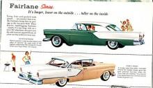 Helt ny var Ford 1957 och den kom i två storlekar med olika hjulbas, Custom och Fairlane. Den större fanns som Fairlane och Fairlane 500 med skillnad i kromprakt. Fairlane 500 var bara 2% dyrare än Fairlane och sålde över 400% bättre. Man undrar vad det var för vits med att ha två modellserier när prisskillnaden var så liten.