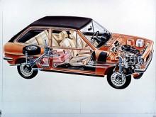 Den billigaste versionen av Fiesta var halvt genomskinlig. Nej, det var den förstås inte. Men bilden visar Fiestans layout med tvärställd motor och framhjulsdrift.