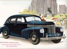 På en broschyrbild i typiskt tyskt förkrigsmanér träder 1939 års modell av Kapitän fram. Formgivningen var lyckad med något av Cord över fronten. Undrar hur många bilar han sålde, försäljaren Arno Zöls som stämplat sitt namn i broschyren?