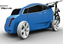 Renault Vitesse är en intressant framtidsstudie som istället för reservhjul är utrustad med en trampcykel. Bra att ha i de allt flera bilfria zonerna.  Meningen är bilen skall drivas av bränsleceller och köra på automatiserade vägar. Föraren skall i princip inte behöva göra någonting.