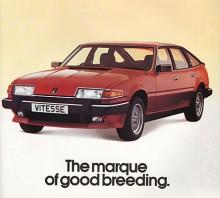 Vitesse var den sportigaste versionen av den modellserie av Rover som är känd under internkoden SD1. V8:an i lättmetall gav 190 hk och Vitesse fanns 1982-1986 och bara med manuell låda. De obligatoriska 80-talsdekalerna var mycket diskreta för Rover var ju som broschyrtexten säger ett märke av god börd. Den aggressiva texten Move over etc i öppningsbilden får väl anses vara ett olycksfall i arbetet.