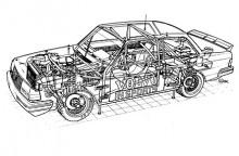 Volvo och Vi Bilägares mångårige röntgentecknare Herbert Müdsam fick ta sig an även Volvo 240 Grupp A.